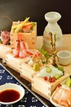 鮮魚五種と野菜の桝盛り